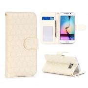 SAMSUNG GALAXY S6 edge læder pung cover med mønster hvid, Mobiltelefon tilbehør
