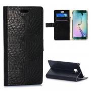 SAMSUNG GALAXY S6 edge læder pung cover med krokodille mønster Mobiltelefon tilbehør