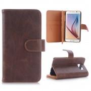 SAMSUNG GALAXY S6 læder cover med multi kort holder moccabrun, Mobiltelefon tilbehør