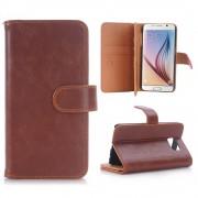 SAMSUNG GALAXY S6 læder cover med multi kort holder brun, Mobiltelefon tilbehør
