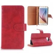 SAMSUNG GALAXY S6 læder cover med multi kort holder rød, Mobiltelefon tilbehør