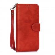 SAMSUNG GALAXY S6 retro stil læder cover med kort holder rød, Mobiltelefon tilbehør