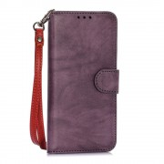 SAMSUNG GALAXY S6 retro stil læder cover med kort holder lilla, Mobiltelefon tilbehør