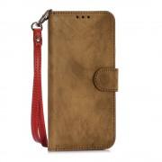 SAMSUNG GALAXY S6 retro stil læder cover med kort holder retrobrun, Mobiltelefon tilbehør