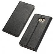 SAMSUNG GALAXY S6 læder cover i casual stil sort, Mobiltelefon tilbehør