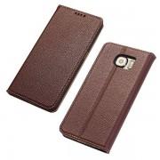 SAMSUNG GALAXY S6 læder cover i casual stil brun, Mobiltelefon tilbehør