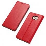SAMSUNG GALAXY S6 læder cover i casual stil rød, Mobiltelefon tilbehør