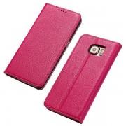 SAMSUNG GALAXY S6 læder cover i casual stil rosa, Mobiltelefon tilbehør