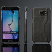 SAMSUNG GALAXY S6 læder bag cover med kort holder, sort Mobiltelefon tilbehør