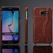 SAMSUNG GALAXY S6 læder bag cover med kort holder, kaffebrun Mobiltelefon tilbehør