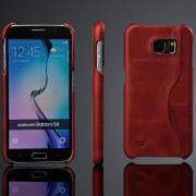SAMSUNG GALAXY S6 læder bag cover med kort holder, vinrød Mobiltelefon tilbehør