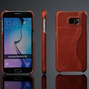 SAMSUNG GALAXY S6 læder bag cover med kort holder, brun Mobiltelefon tilbehør
