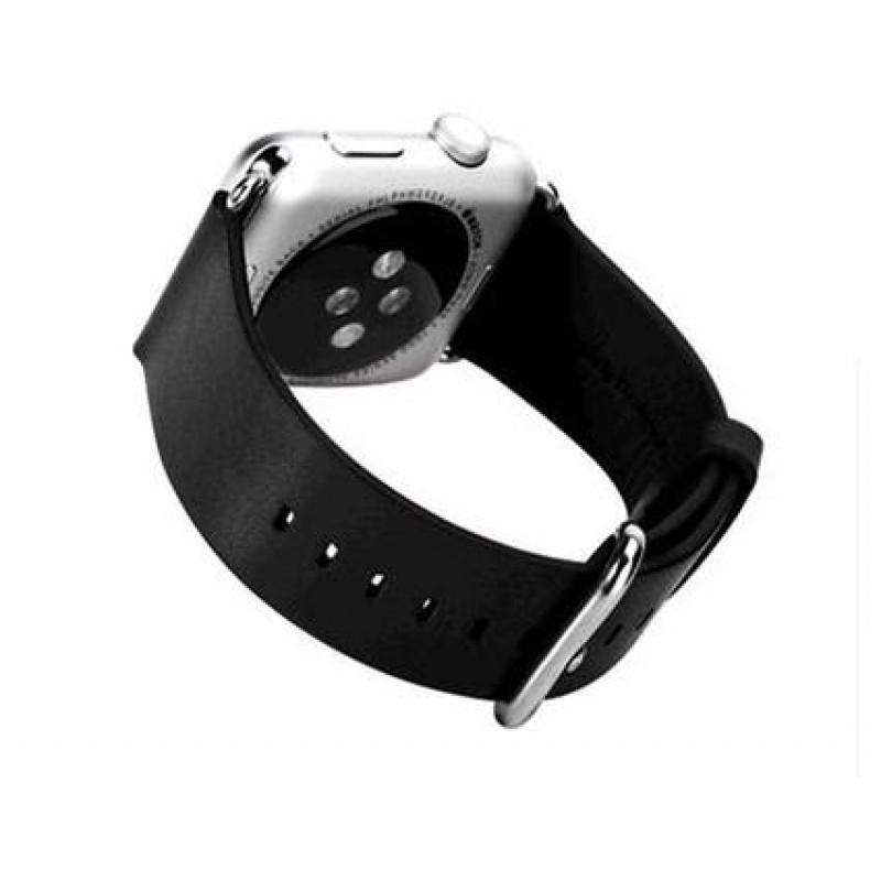 ed5e48db3b6 APPLE WATCH 42 MM læder urrem med montage beslag. Sort Smartwatch tilbehør  ...