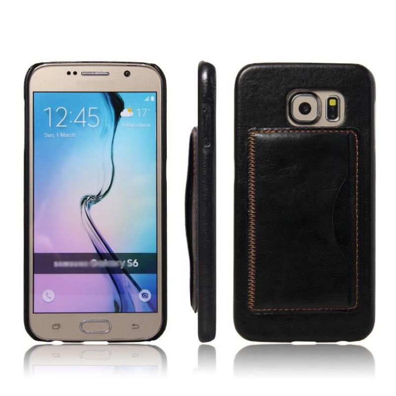 Samsung Galaxy S6 Laeder Bag Cover Med Kort Holder Og Flip Stand