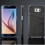 SAMSUNG GALAXY S6 sort læder bag cover med kort holder Mobiltelefon tilbehør