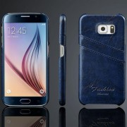SAMSUNG GALAXY S6 læder bag cover med kort holder blå Mobiltelefon tilbehør