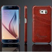 SAMSUNG GALAXY S6 læder bag cover brun  med kort holder Mobiltelefon tilbehør