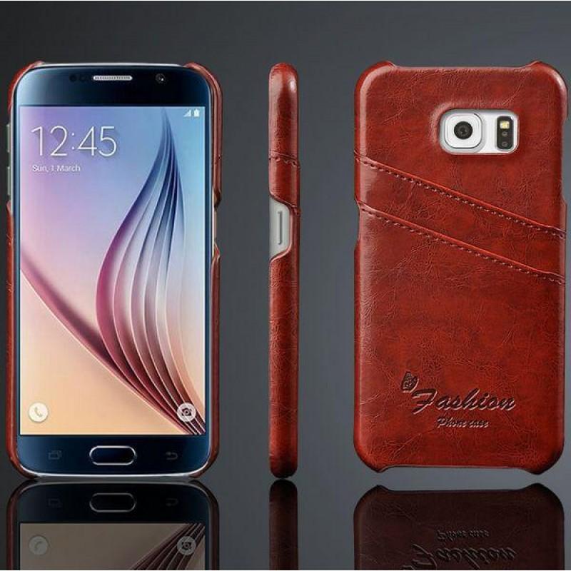 Samsung Galaxy S6 Brun Laeder Bag Cover Med Kort Lommer