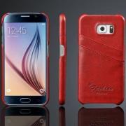 til SAMSUNG GALAXY S6 læder bag cover rød med kort holder Mobiltelefon tilbehør