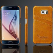 SAMSUNG GALAXY S6 khaki brun læder bag cover med kort holder Mobiltelefon tilbehør