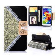 SAMSUNG GALAXY S5 MINI læder pung cover / taske med mønster sort Mobiltelefon tilbehør