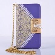 SAMSUNG GALAXY S5 MINI læder pung cover / taske med mønster lilla Mobiltelefon tilbehør