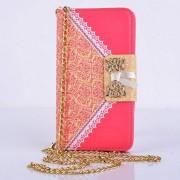 SAMSUNG GALAXY S5 MINI læder pung cover / taske med mønster rød Mobiltelefon tilbehør