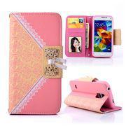 SAMSUNG GALAXY S5 MINI læder pung cover / taske med mønster pink Mobiltelefon tilbehør
