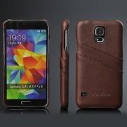 SAMSUNG GALAXY S5 bag cover med kort holder brun Mobiltelefon tilbehør