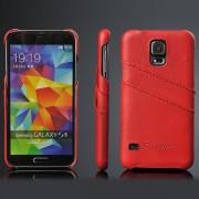 SAMSUNG GALAXY S5 bag cover med kort holder rød Mobiltelefon tilbehør