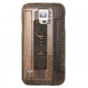SAMSUNG GALAXY S5 bambus bag cover med laser graveret mønster Mobiltelefon tilbehør