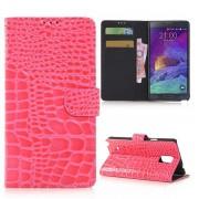 SAMSUNG GALAXY NOTE 4 læder pung cover med krokodille mønster Mobiltelefon tilbehør