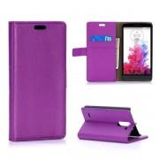 LG G3 STYLUS læder pung cover lilla Mobiltelefon tilbehør