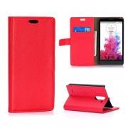 LG G3 STYLUS læder pung cover rød Mobiltelefon tilbehør