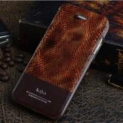 IPHONE 6 / 6S kajsa Snake Skin mønstret læder cover, brun Mobiltelefon tilbehør