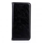 IPHONE 6 / 6S læder cover med flip stand og kort holder, sort Mobiltelefon tilbehør