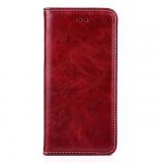 IPHONE 6 / 6S læder cover med flip stand og kort holder, vinrød Mobiltelefon tilbehør