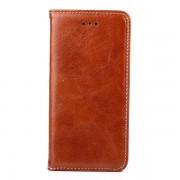IPHONE 6 / 6S læder cover med flip stand og kort holder, brun Mobiltelefon tilbehør
