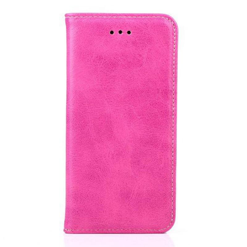 Iphone 6 6s Laeder Cover Med Flip Stand Og Kort Holder Rosa