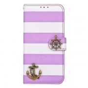 IPHONE 6 / 6S marine design læder cover med kort lomme Mobiltelefon tilbehør