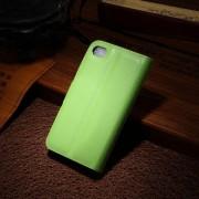 IPHONE 4S læder pung cover, grøn Mobiltelefon tilbehør