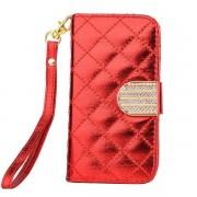 IPHONE 4S rød mønstret læder pung cover Mobiltelefon tilbehør