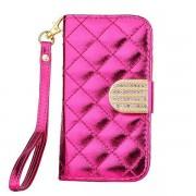 IPHONE 4S mønstret læder pung cover rosa Mobiltelefon tilbehør