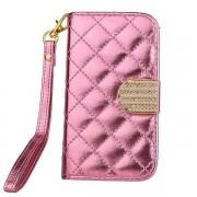 IPHONE 4S pink mønstret læder pung cover Mobiltelefon tilbehør