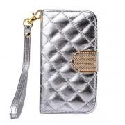IPHONE 4S mønstret læder pung cover sølv Mobiltelefon tilbehør