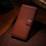 HUAWEI HONOR 6 læder cover med kort lomme, brun Mobiltelefon tilbehør