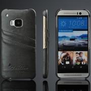 HTC ONE M9 læder bag cover med kort holder, grå Mobiltelefon tilbehør