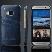 HTC ONE M9 læder bag cover med kort holder, mørkeblå Mobiltelefon tilbehør