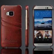 HTC ONE M9 læder bag cover med kort holder, moccabrun Mobiltelefon tilbehør