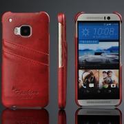 HTC ONE M9 læder bag cover med kort holder, vinrød Mobiltelefon tilbehør